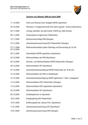 Seite 1 von 3 Termine von Oktober 2008 bis April 2009 11.10.2008 ...