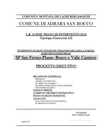 COMUNE DI ADRARA SAN ROCCO SP San Fermo-Plasse - sito in ...