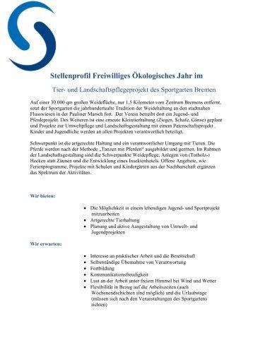 Stellenprofil Freiwilliges Ökologisches Jahr - Sportgarten Bremen