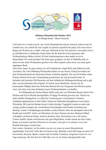 iSithumba Monatsbericht November 2012 - Sportgarten Bremen