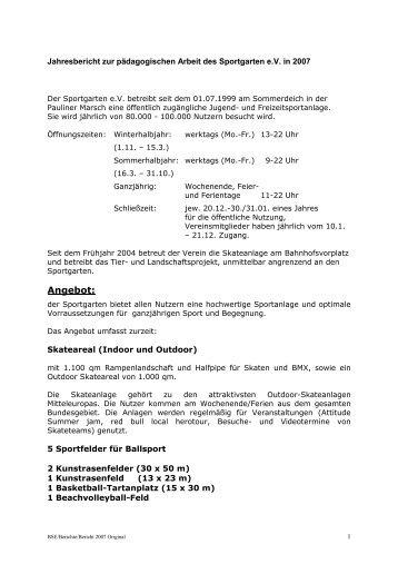 Jahresbericht 2007 (PDF) - Sportgarten Bremen
