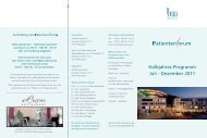 Halbjahres-Programm Juli - Dezember 2011 - Arcus Sportklinik