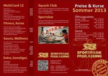 Preisliste Sommer 2013 - Sportpark Freilassing
