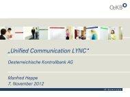 Praxisbericht OeKB: Interaktion von Lync mit bestehender Infrastruktur