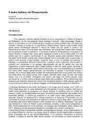 Il teatro italiano nel Rinascimento - Arti e Scienze dello Spettacolo