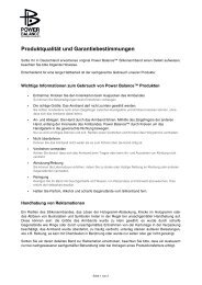 Produktqualität und Garantiebestimmungen - Sport-Tiedje
