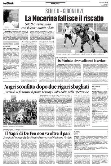 01/10/2007 Campionato 5a Giornata: Girone H - serie d news