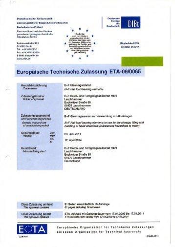Europäische Technische Zu|assung ETA-O9IOO65