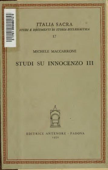 Studi su Innocenzo 3 [i.e. terzo]