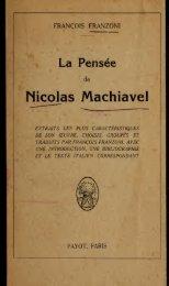La pense de Nicholas Machiavelli : extraits les plus caracteristiques ...