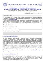 Informativa per intervento di laser a eccimeri - Azienda Ospedaliera ...