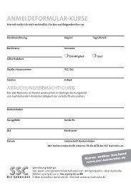 AnMELDEfORMuLAR-KuRSE - Sport und Schwimmclub Karlsruhe eV