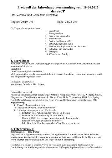 Protokoll Jahreshauptversammlung 2013 - SSCP