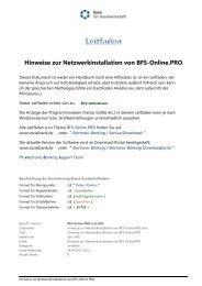 Hinweise zur Netzwerkinstallation von BFS-Online.PRO