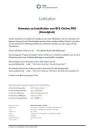 Hinweise zur Installation von BFS-Online.PRO - Bank für ...