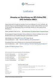 Hinweise zur Einrichtung von BFS-Online.PRO - Bank für ...