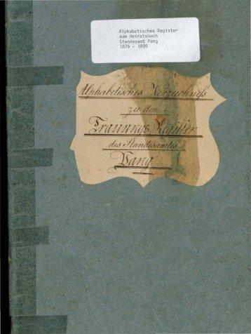 Heiratsregister der Jahre 1876 - 1899