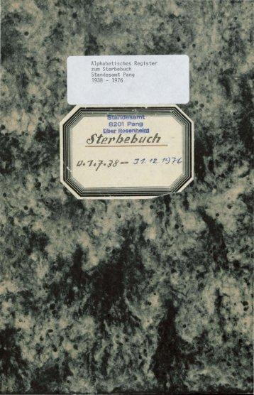 Sterberegister der Jahre 1938 - 1976