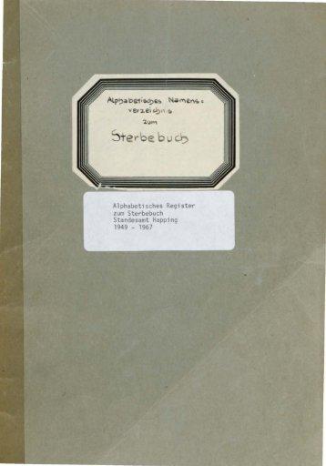 Sterberegister der Jahre 1949 - 1967