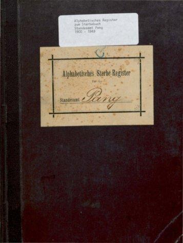 Sterberegister der Jahre 1900 - 1949