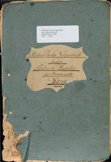 Geburtenregister der Jahre 1876 - 1899