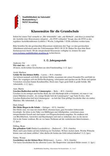 Klassensätze für die Grundschule - Stadtbibliothek Straubing
