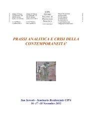 Prassi analitica e crisi della contemporaneità - Centro Italiano di ...