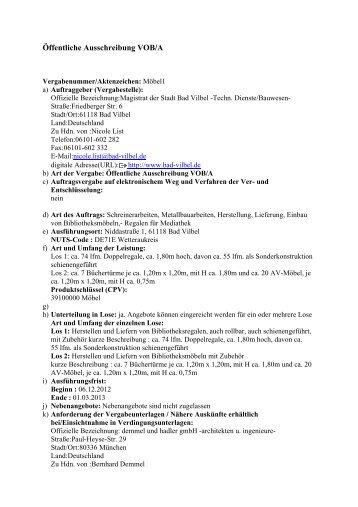 Öffentliche Ausschreibung VOB/A - Stadtmarketing Bad Vilbel eV