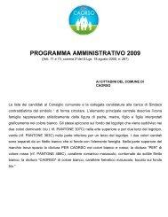 PROGRAMMA AMMINISTRATIVO 2009-2014 (testo) - Comune di ...