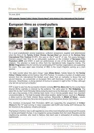 European films as  crowd-pullers - European Film Promotion