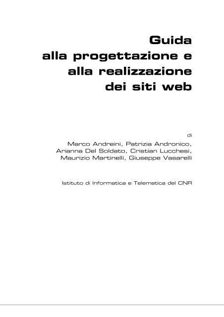 Guida alla progettazione e alla realizzazione dei siti web