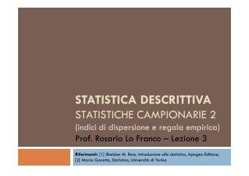 Statistiche campionarie - Indici di dispersione