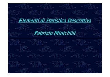 Elementi di Statistica Descrittiva Fabrizio Minichilli