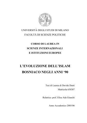 L'evoluzione dell'islam bosniaco negli - Davide Denti