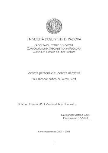 Identità personale e identità narrativa - Università degli Studi di ...