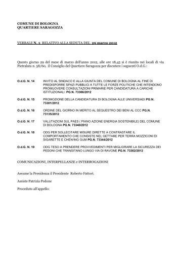 COMUNE DI BOLOGNA QUARTIERE SARAGOZZA VERBALE N. 5 ...