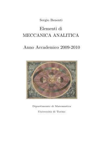 Elementi di MECCANICA ANALITICA Anno Accademico 2009-2010