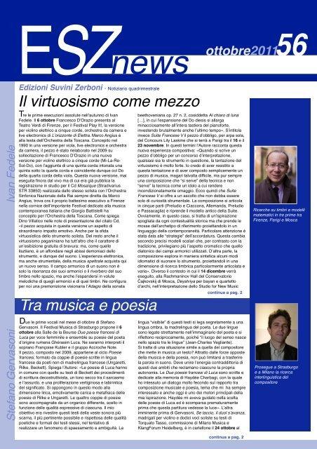 ESZ NEWS N. 56_ottobre 2011.pdf - Edizioni Suvini Zerboni