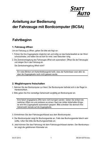 Anleitung zur Bedienung der Fahrzeuge mit Bordcomputer (BCSA)