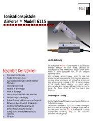 Ionisationspistole AirForce ® Modell 6115 Besondere Kennzeichen: