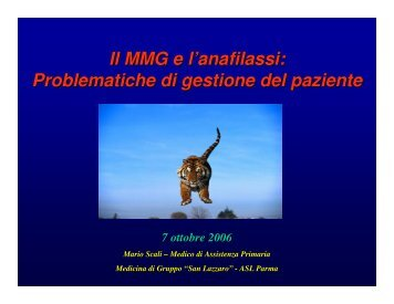 Il MMG e l'anafilassi: Problematiche di gestione del paziente - Aicod
