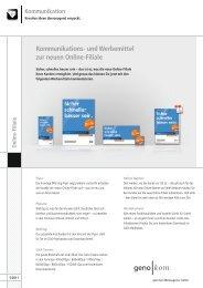 Kommunikations- und Werbemittel zur neuen Online-Filiale