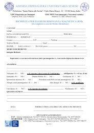 Modulo per Richiesta di esame di Risonanza magnetica - Azienda ...