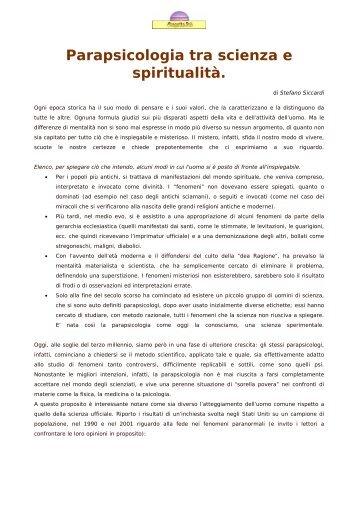 Parapsicologia tra scienza e spiritualità. - Progetto Psi