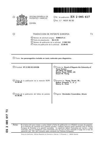 Gadolinio magazines for Oficina de patentes y marcas europea