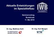 Aktuelle Entwicklungen im Spezialtiefbau - Steinfeld und Partner