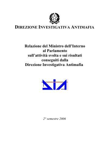 Relazione della DIA 2° semestre - Ministero Dell'Interno
