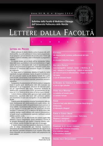 LETTERE 2004 06.pdf - Facoltà di Medicina e Chirurgia - Università ...