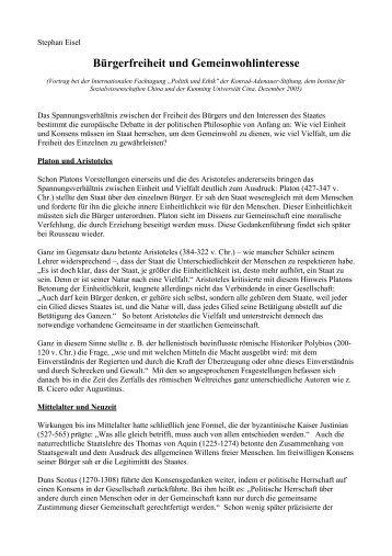 Bürgerfreiheit und Gemeinwohlinteresse - Stephan Eisel