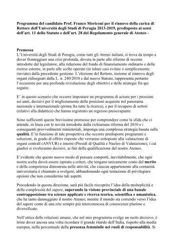 Programma del candidato Prof. Franco Moriconi per il rinnovo della ...